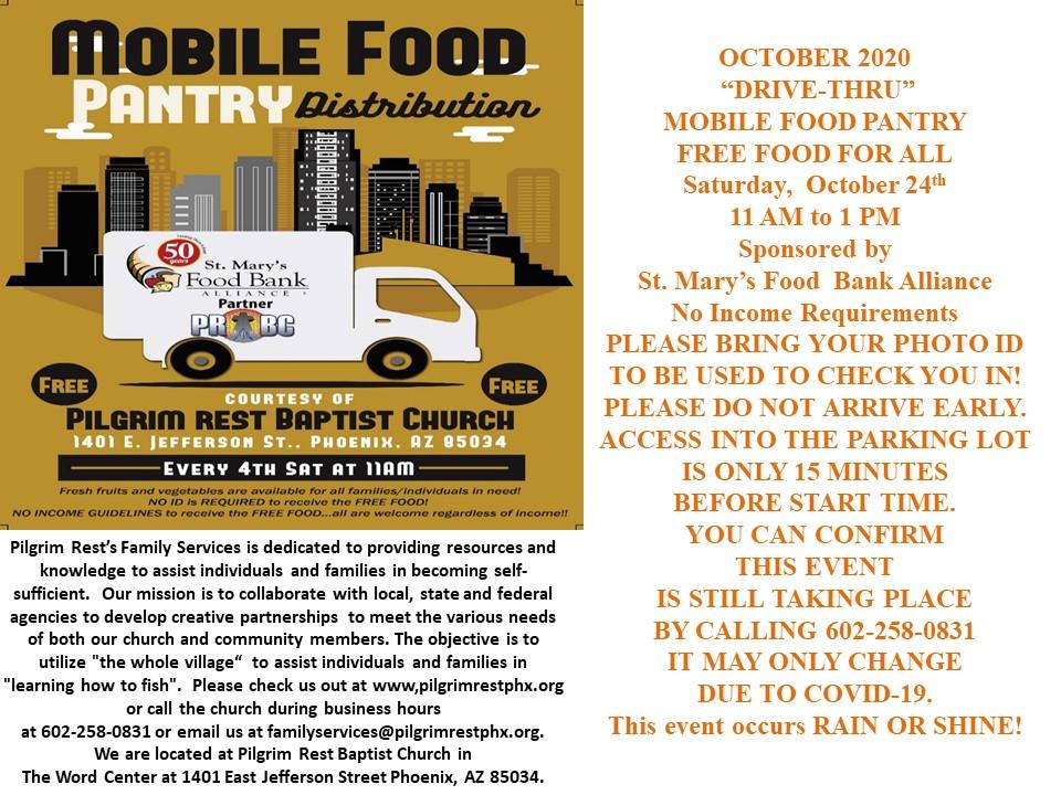 Flyer for Mobile Food Pantry Distribution