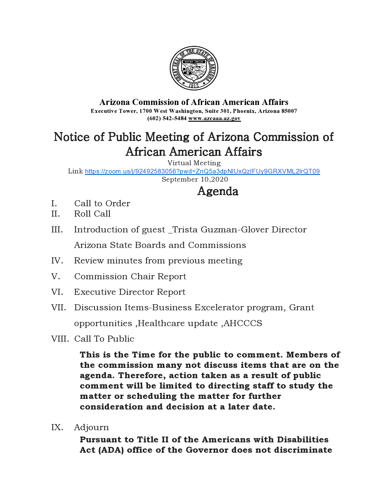 August Meeting for Commissioners