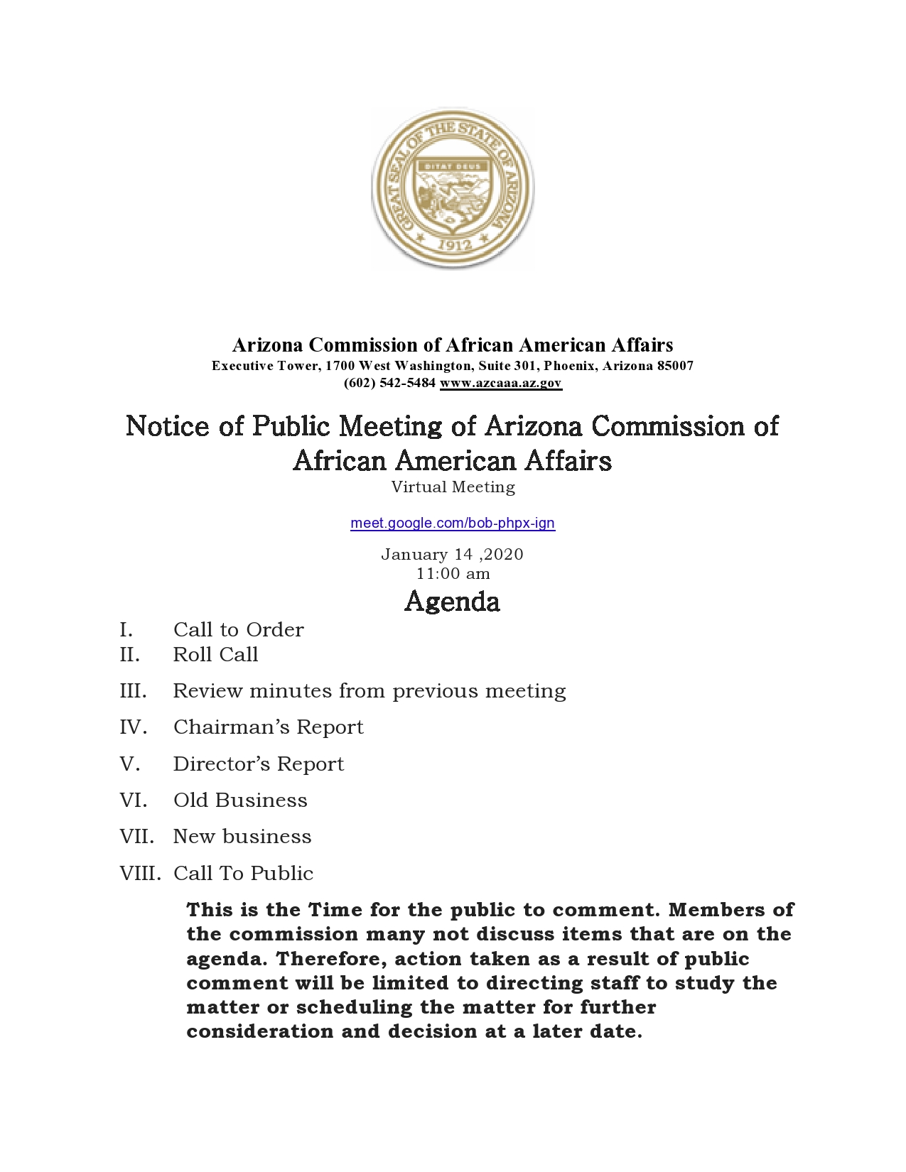 January Commission Meeting Agenda